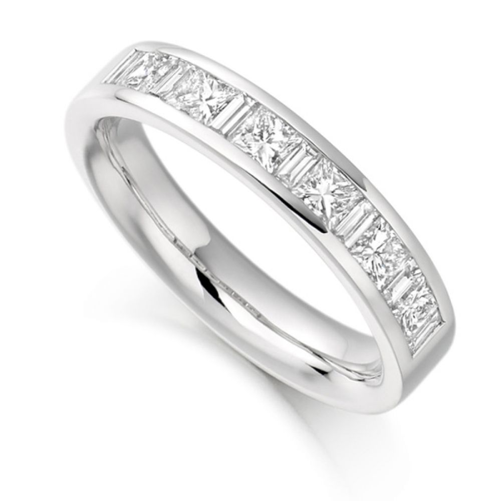 1 Carat Baguette & Princess Half Diamond Eternity Ring