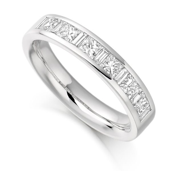 1 Carat Baguette & Princess Half Diamond Eternity Ring Main Image