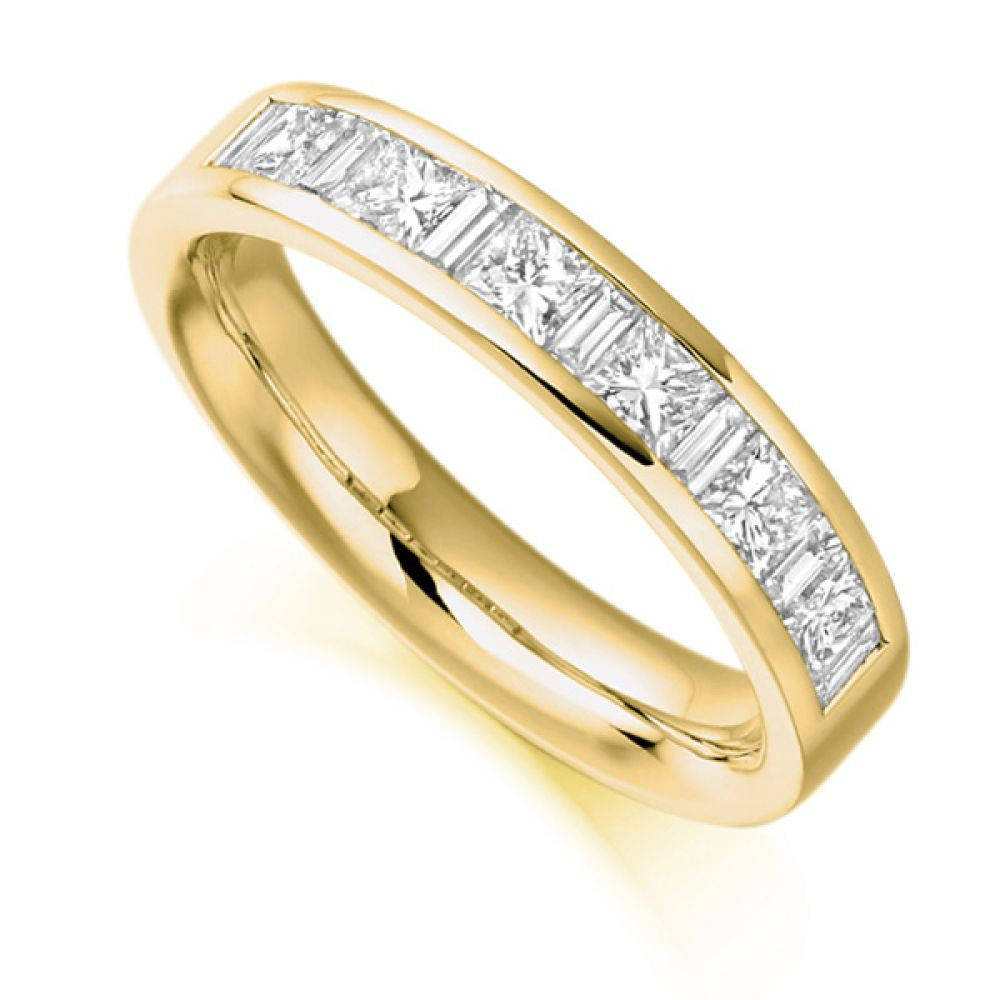 1 Carat Baguette & Princess Half Diamond Eternity Ring In Yellow Gold
