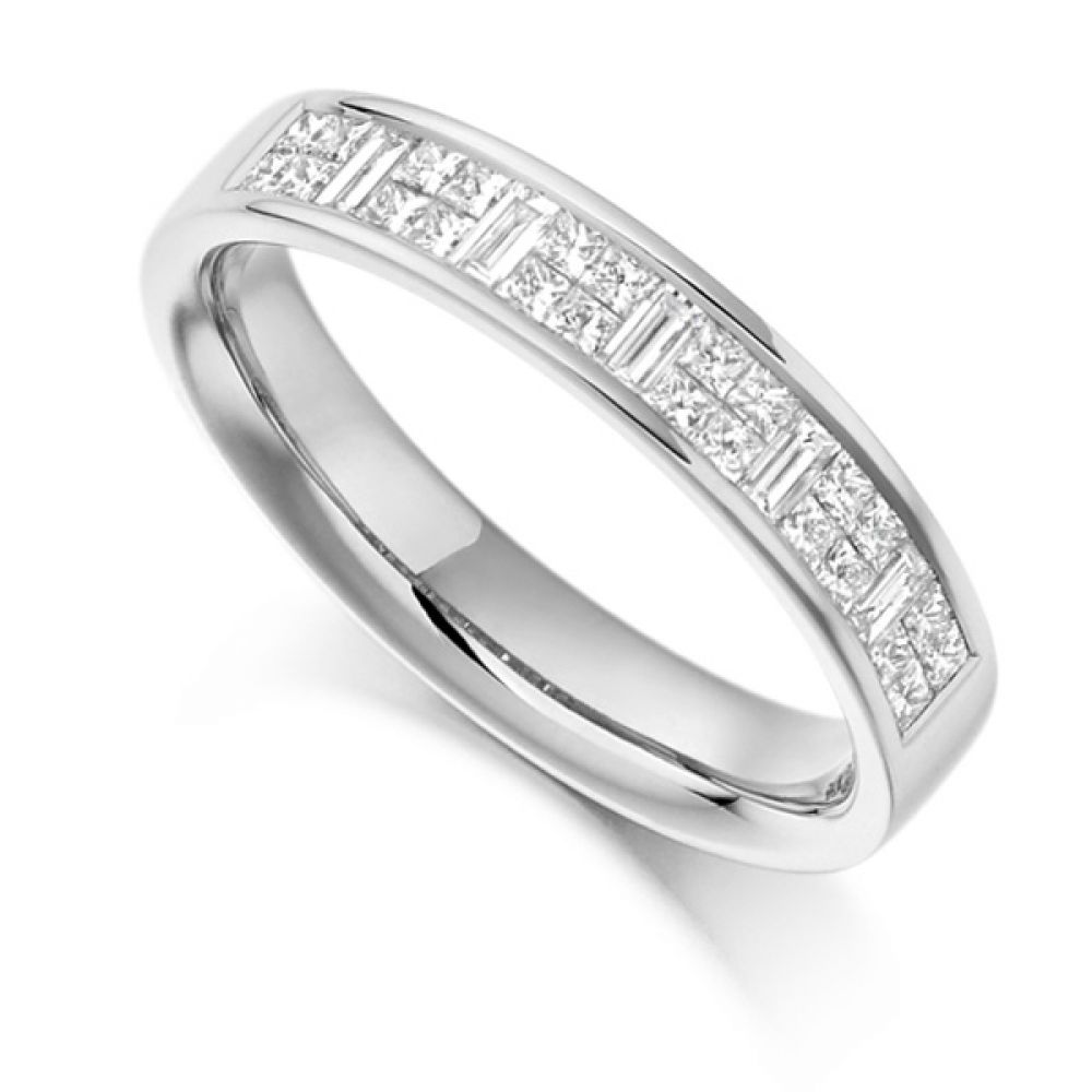 0.60cts Baguette & Princess Cut Half Eternity Ring