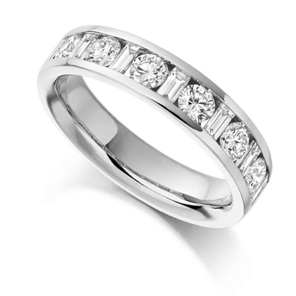 1 Carat Half Eternity Round & Baguette Diamonds