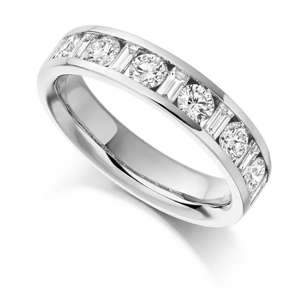 1 Carat Half Eternity Round & Baguette Diamonds Main Image