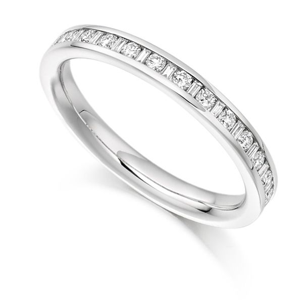 0.30cts Baguette & Round Diamond Half Eternity Ring Main Image