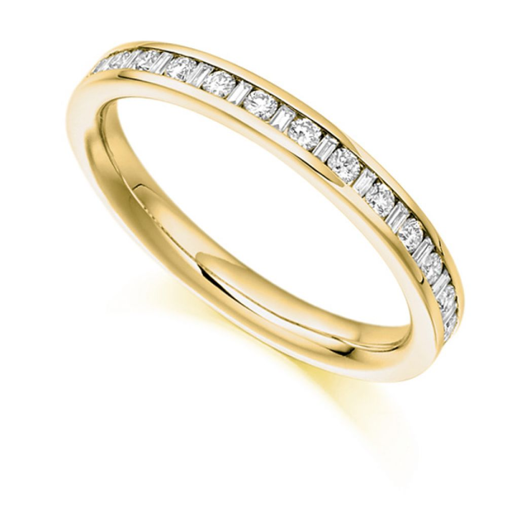 0.30cts Baguette & Round Diamond Half Eternity Ring In Yellow Gold