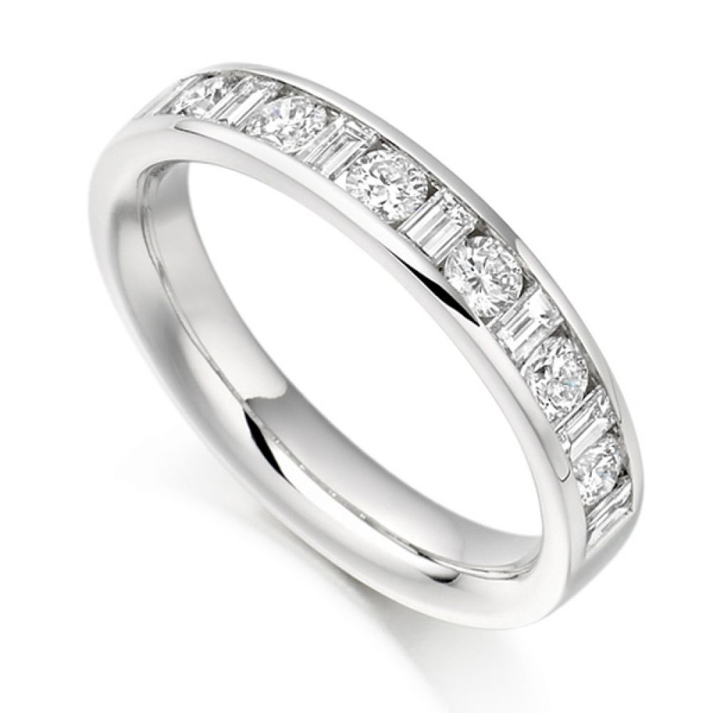 0.76ct Baguette & Round Diamond Half Eternity Ring