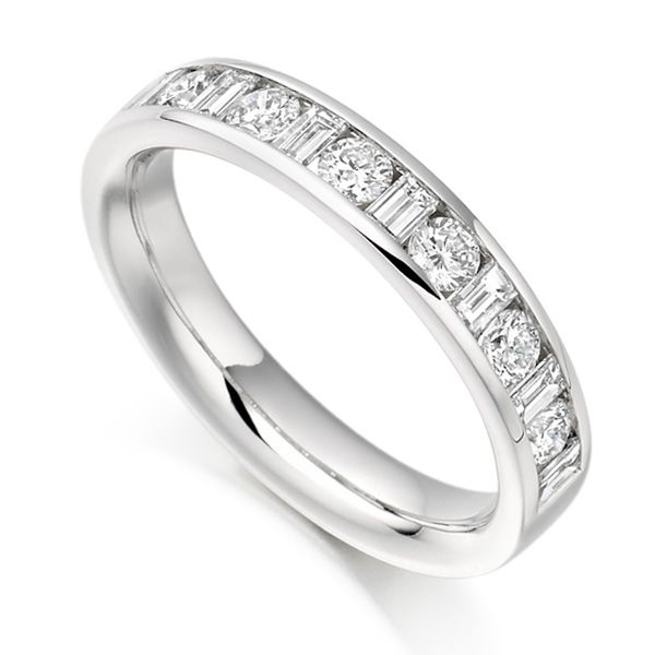 0.76ct Baguette & Round Diamond Half Eternity Ring Main Image