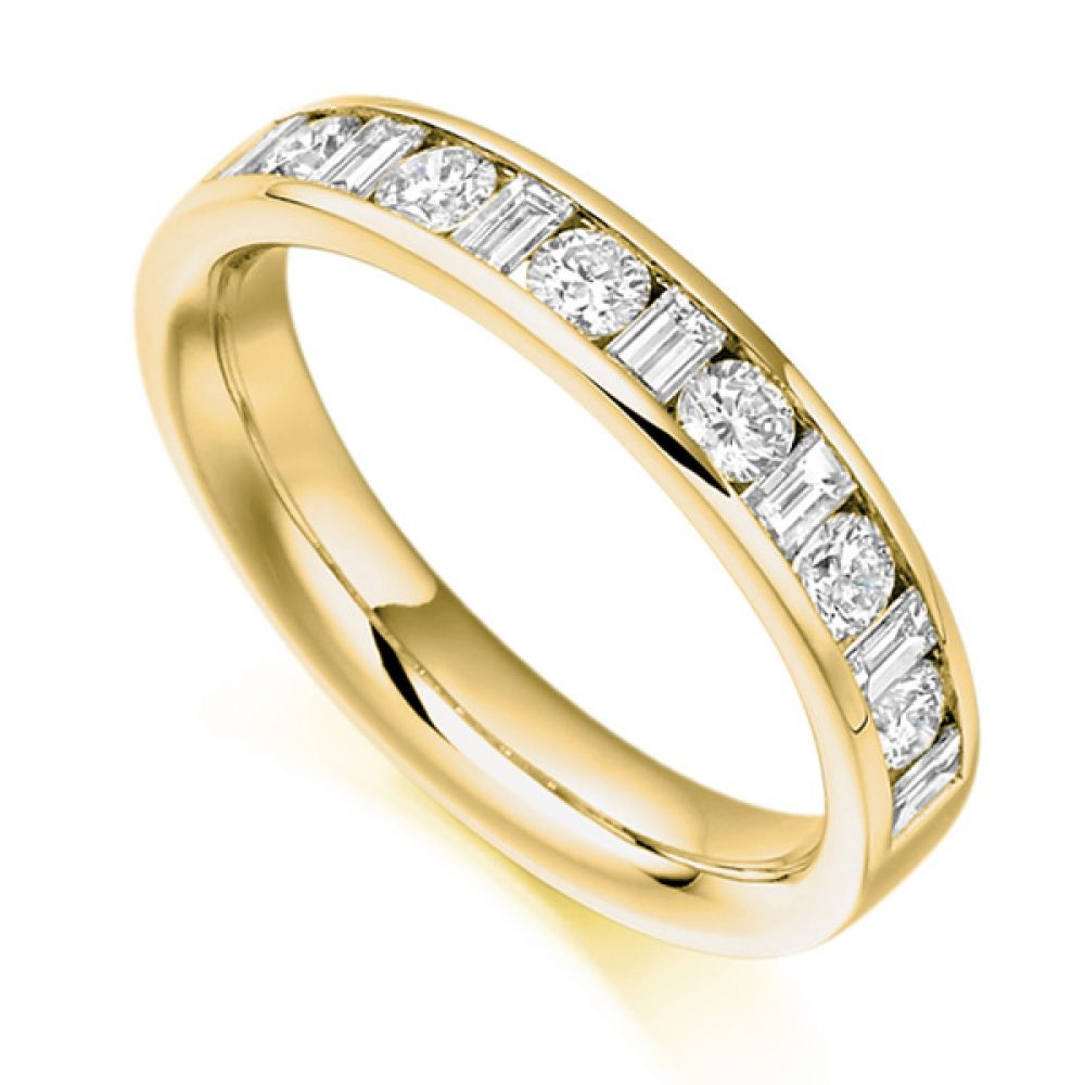 0.76ct Baguette & Round Diamond Half Eternity Ring In Yellow Gold