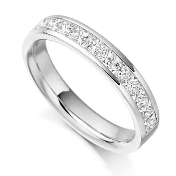 0.75ct Princess Cut Diamond Half Eternity Ring Main Image