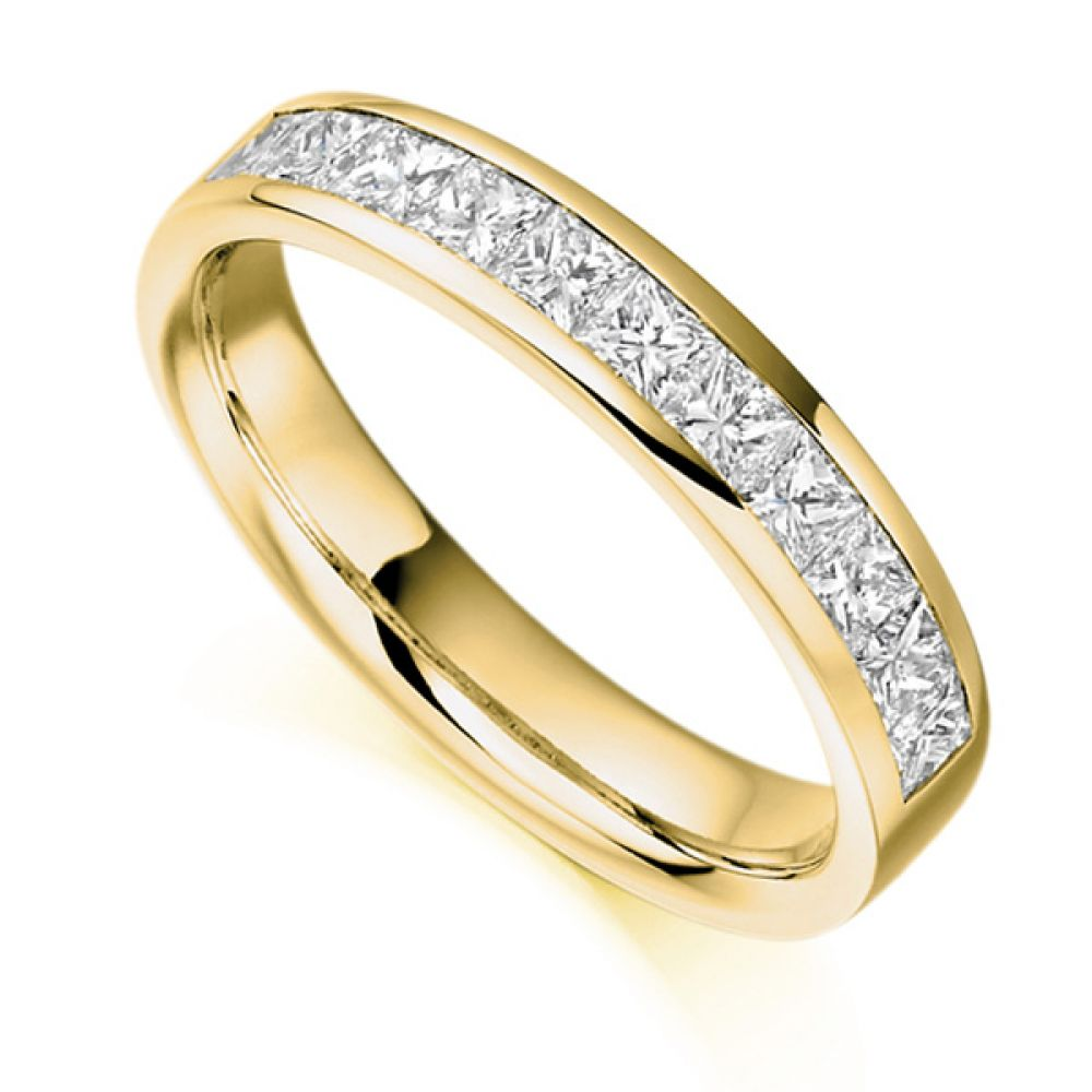 0.75ct Princess Cut Diamond Half Eternity Ring In Yellow Gold