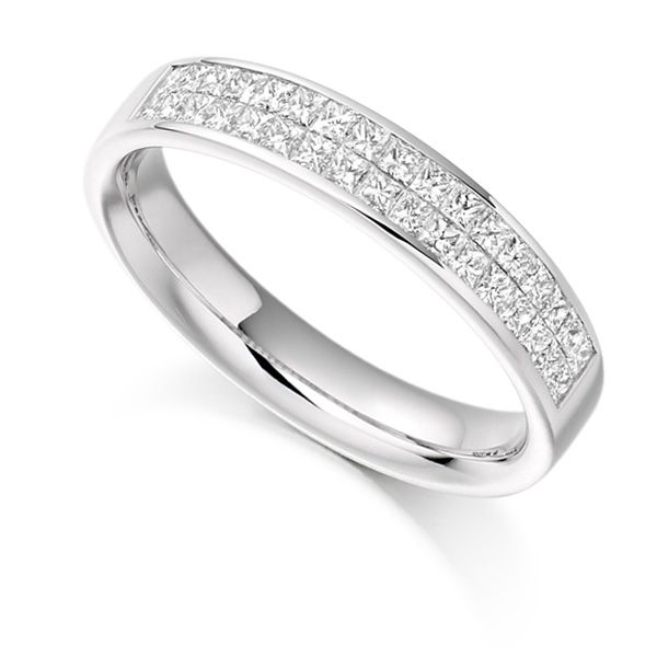 0.60ct Invisibly Channel Set Princess Half Eternity Ring Main Image