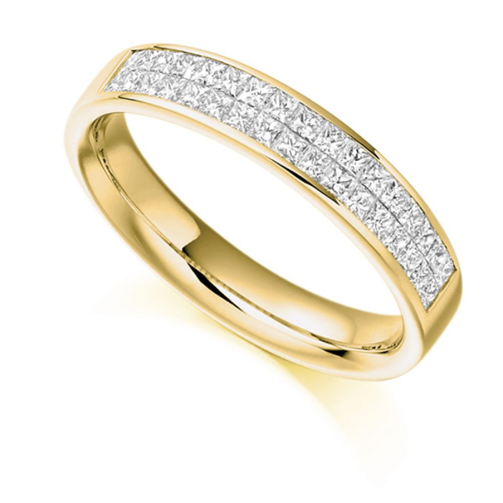 0.60ct Invisibly Channel Set Princess Half Eternity Ring In Yellow Gold