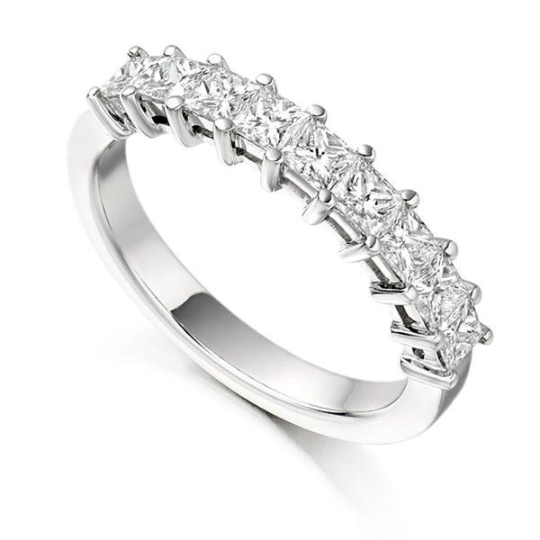 1 Carat Claw Set Half Princess Diamond Eternity Ring Main Image