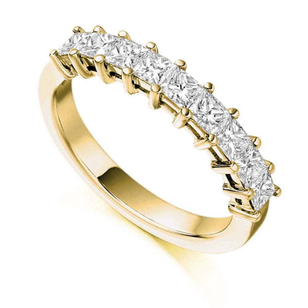 1 Carat Claw Set Half Princess Diamond Eternity Ring With A Yellow Gold Band