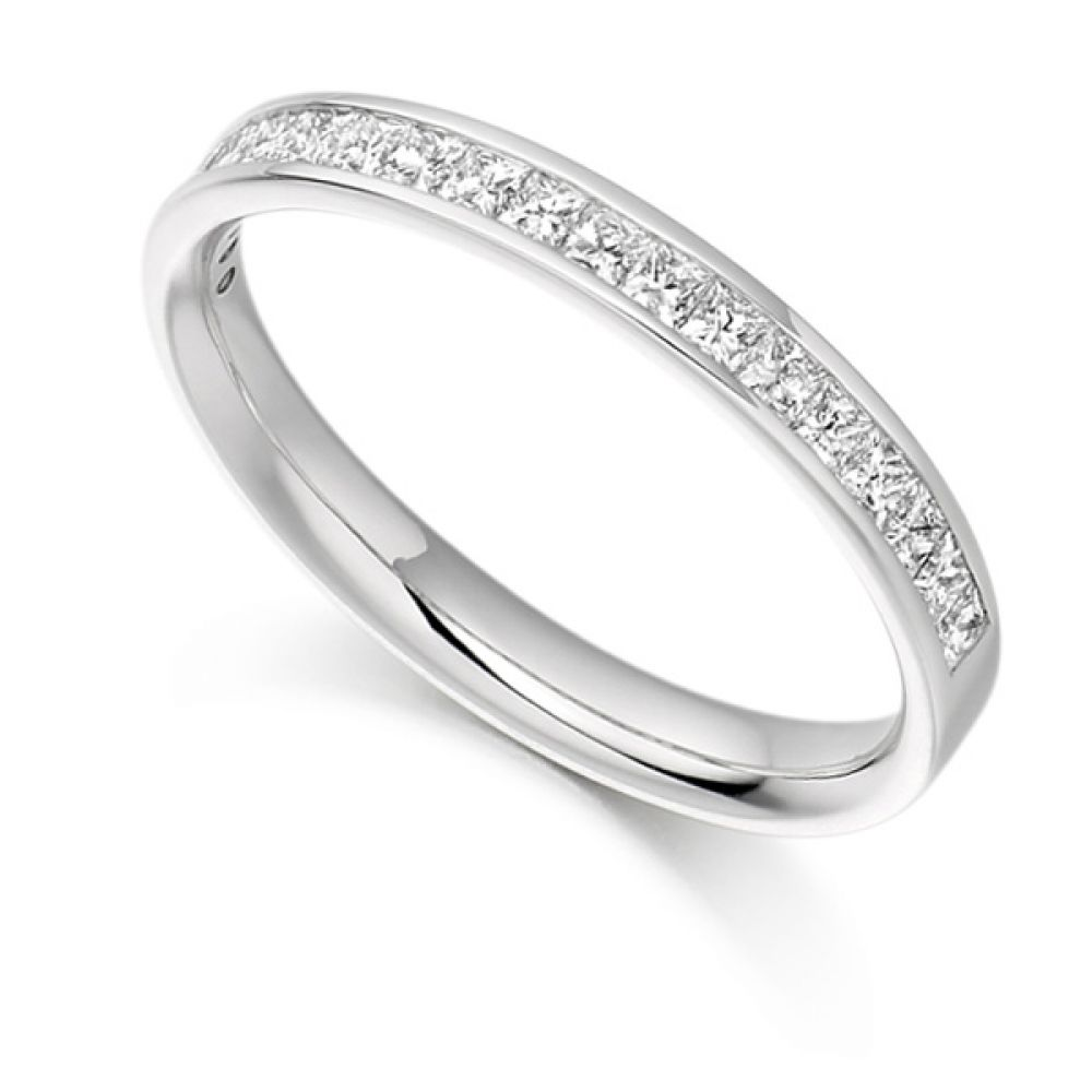 0.50ct Princess Cut Diamond Half Eternity Ring