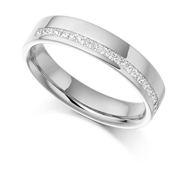 0.25cts Offset Channel Princess Half Eternity Ring Main Image