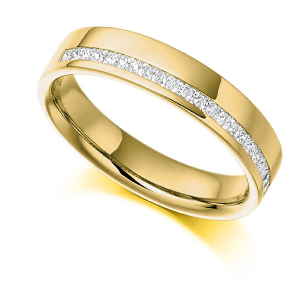 0.25cts Offset Channel Princess Half Eternity Ring In Yellow Gold