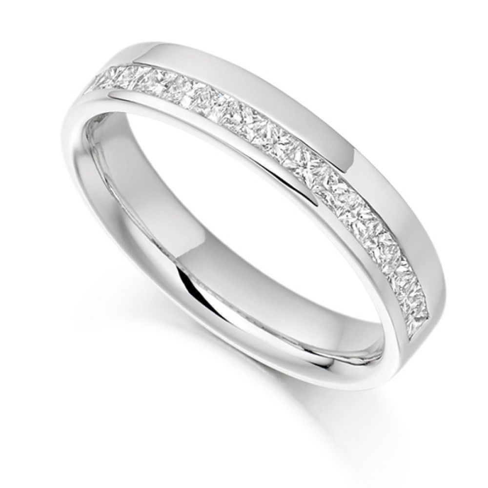 0.50cts Princess Half Eternity Ring with Offset Channel