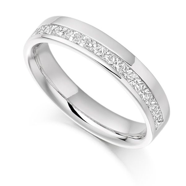 0.50cts Princess Half Eternity Ring with Offset Channel Main Image