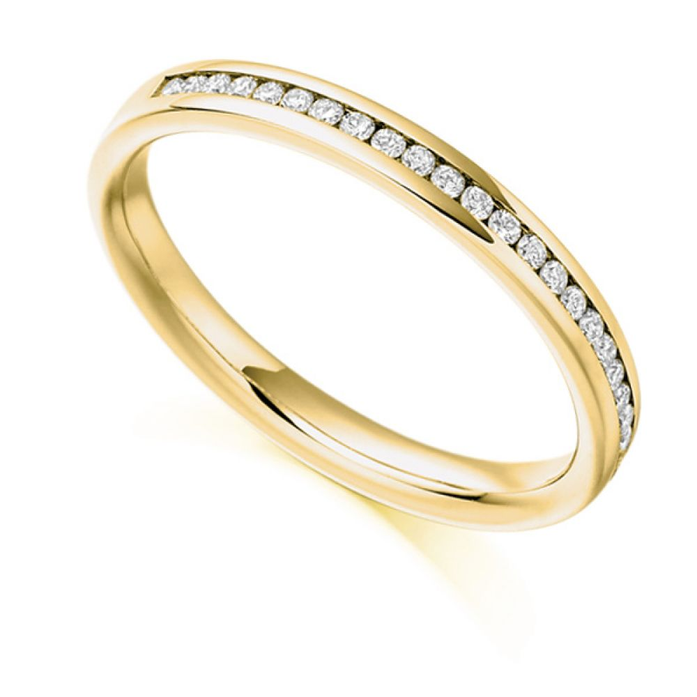 0.15ct Round Diamond Half Eternity Ring In Yellow Gold