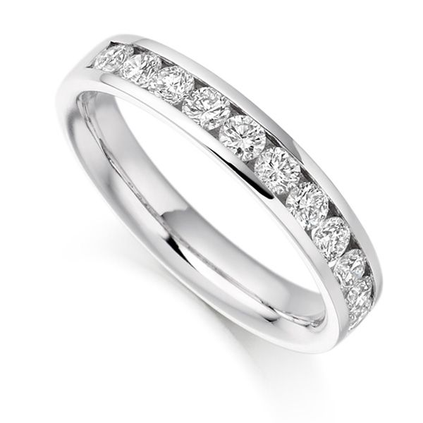 0.80cts Round Brilliant Diamond Half Eternity Ring Main Image