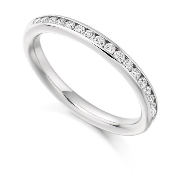 0.33cts Channel Set Round Diamond Half Eternity Ring Main Image