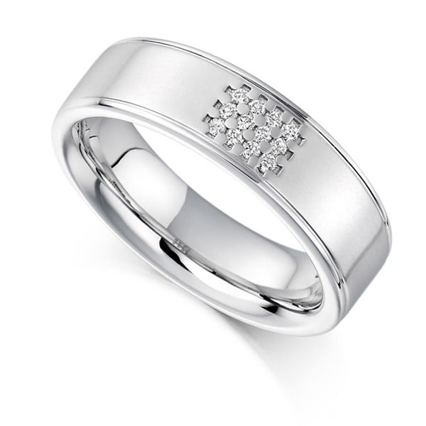 0.08ct Unisex 5.8mm Wide Diamond Set Ring Main Image