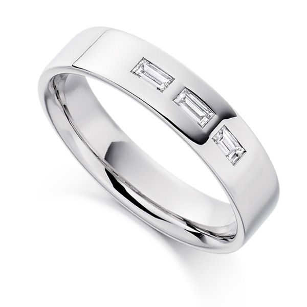 Men's Baguette Diamond Wedding Ring Main Image