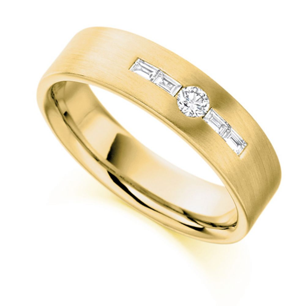 0.18cts Round & Baguette Diamond Men's Wedding Ring In Yellow Gold