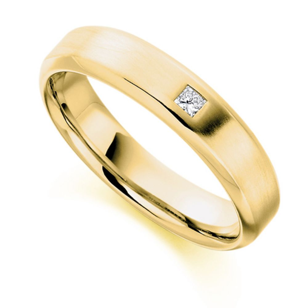 0.06cts Princess Cut Diamond Men's Wedding Ring In Yellow Gold