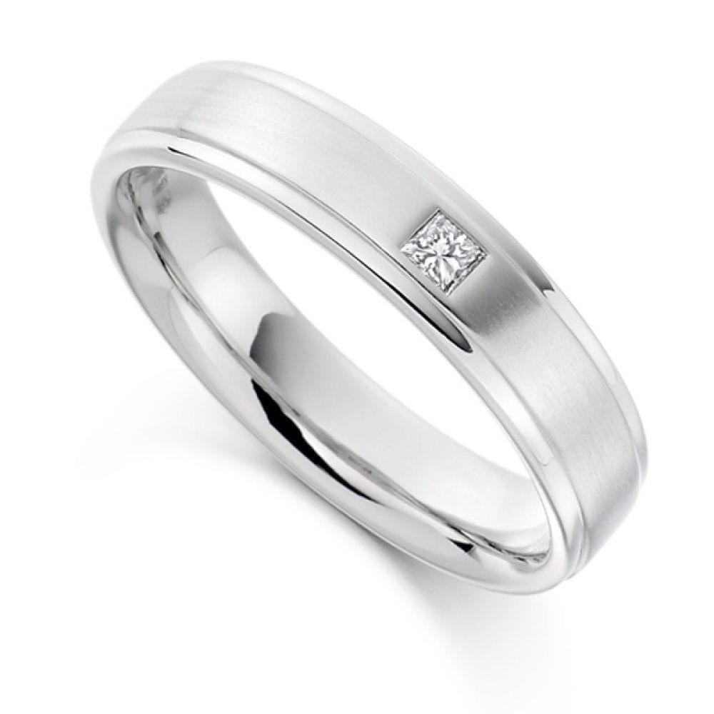 0.07cts Men's Princess Cut Diamond Wedding Ring
