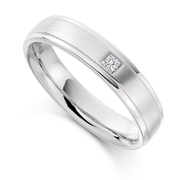 0.07cts Men's Princess Cut Diamond Wedding Ring  Main Image