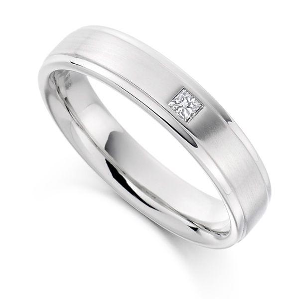 0.07cts Men's Princess Cut Diamond Wedding Ring  Main Image