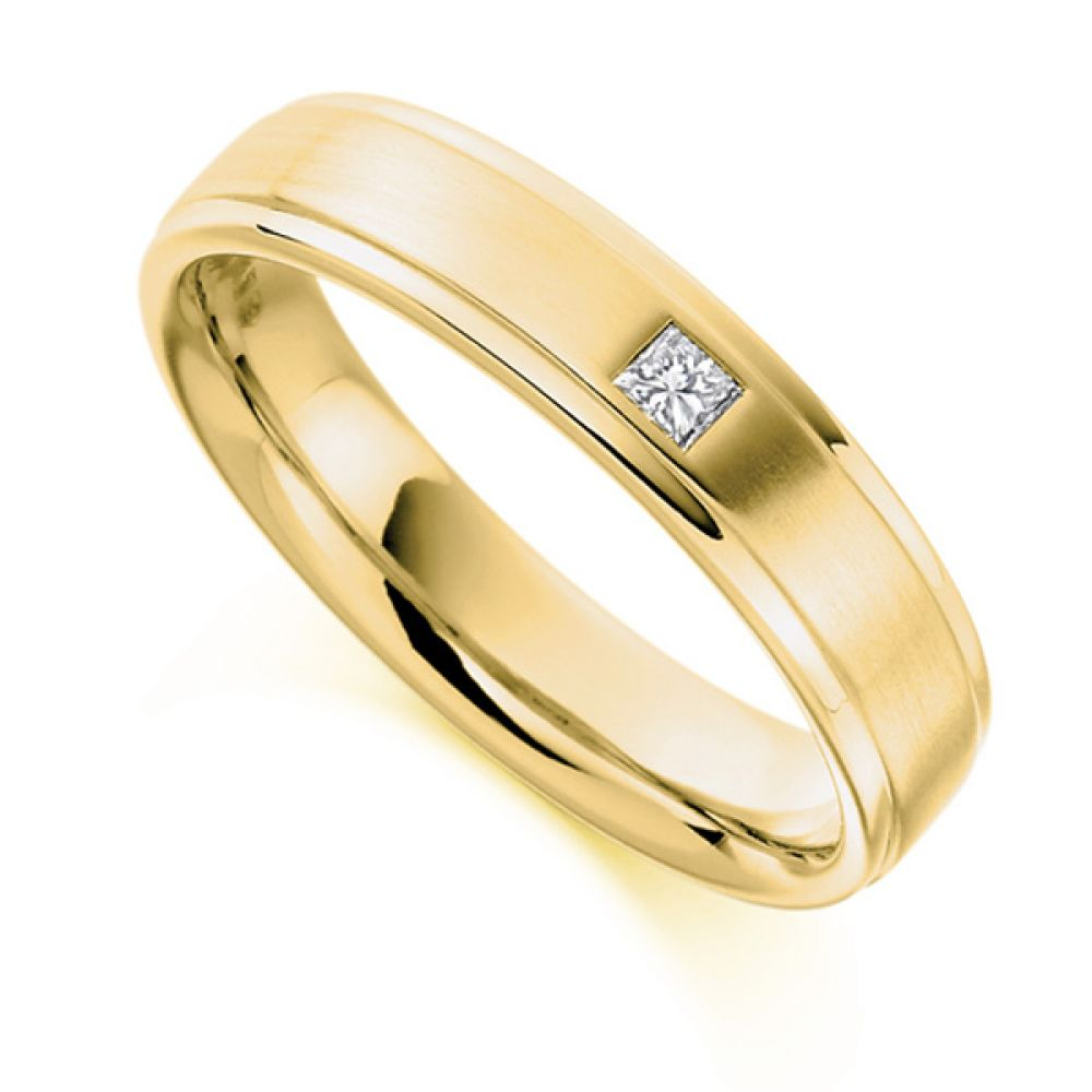 0.07cts Men's Princess Cut Diamond Wedding Ring In Yellow Gold