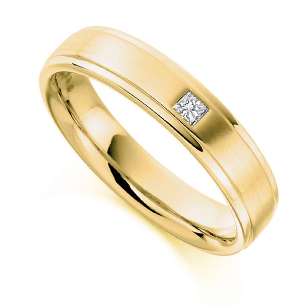 0.07cts Men's Princess Cut Diamond Wedding Ring In Yellow Gold