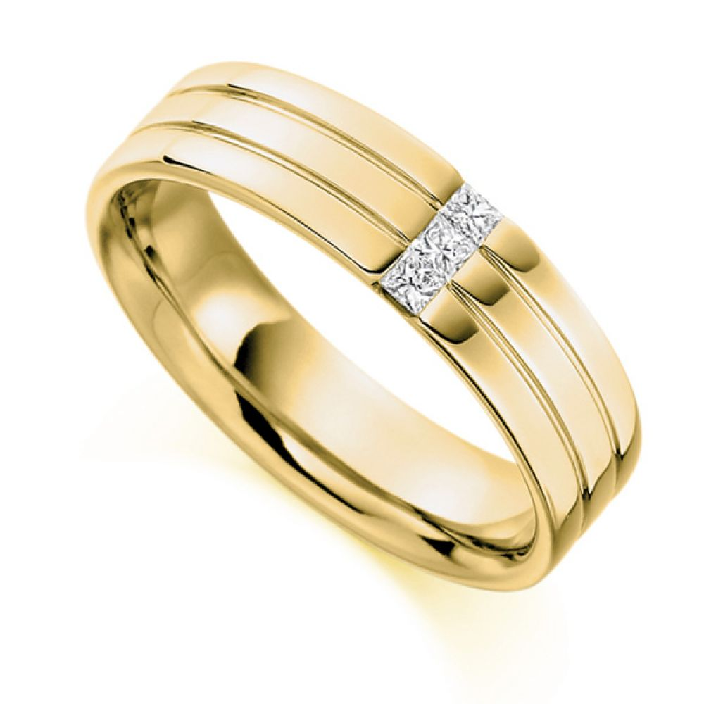 0.15cts Men's Diamond Wedding Ring In Yellow Gold