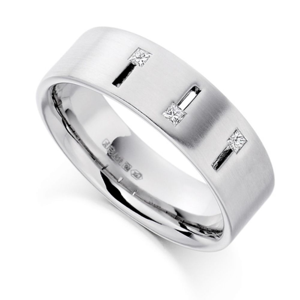 0.10cts Men's Princess Diamond Wedding Ring