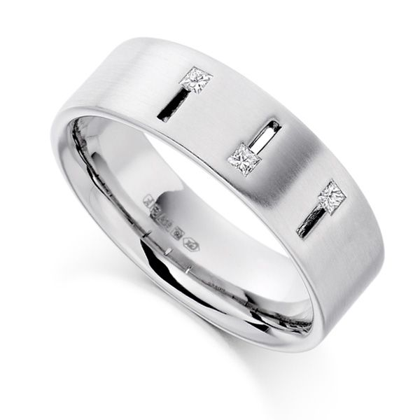 0.10cts Men's Princess Diamond Wedding Ring Main Image