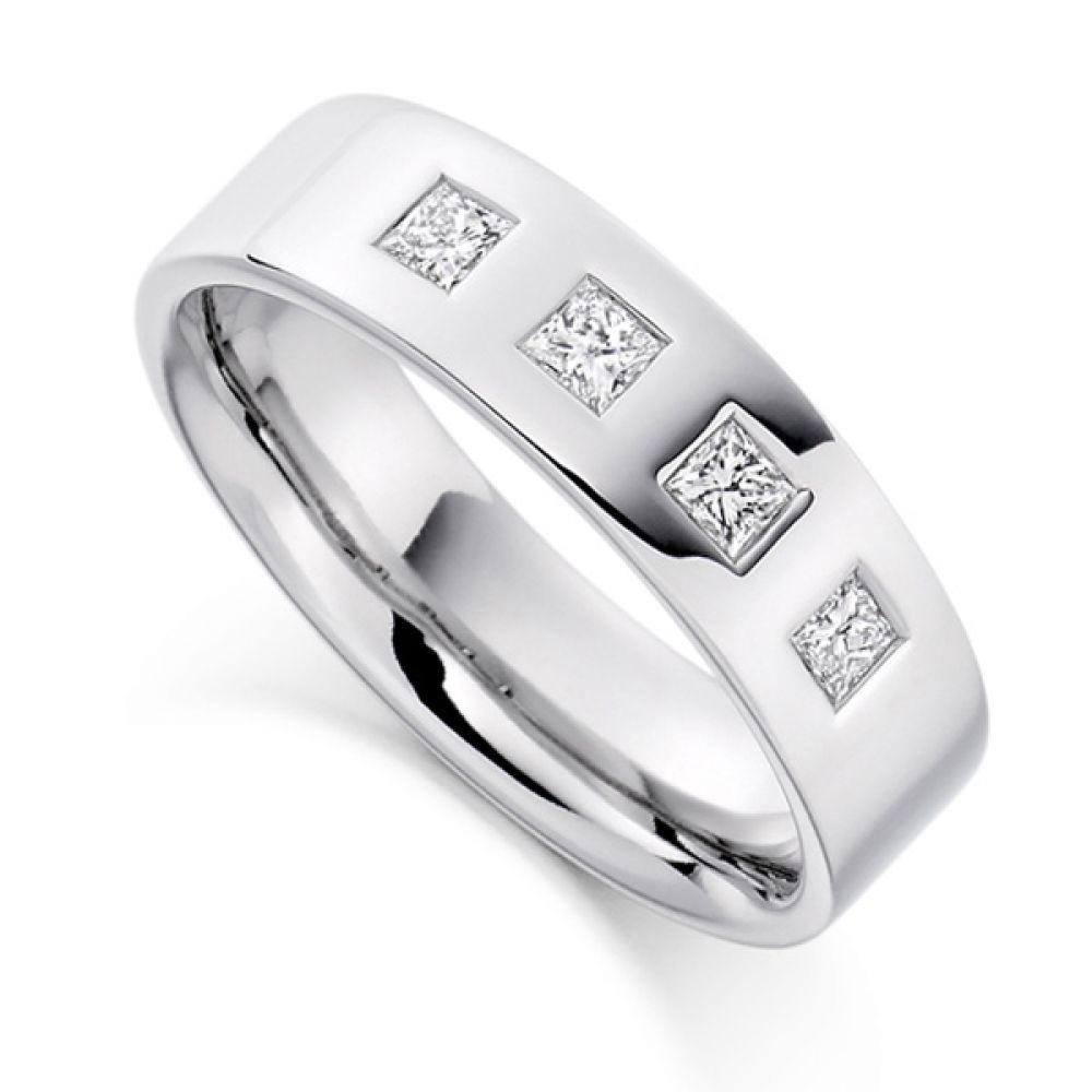 0.36cts Men's 4 Princess Diamond Wedding Ring
