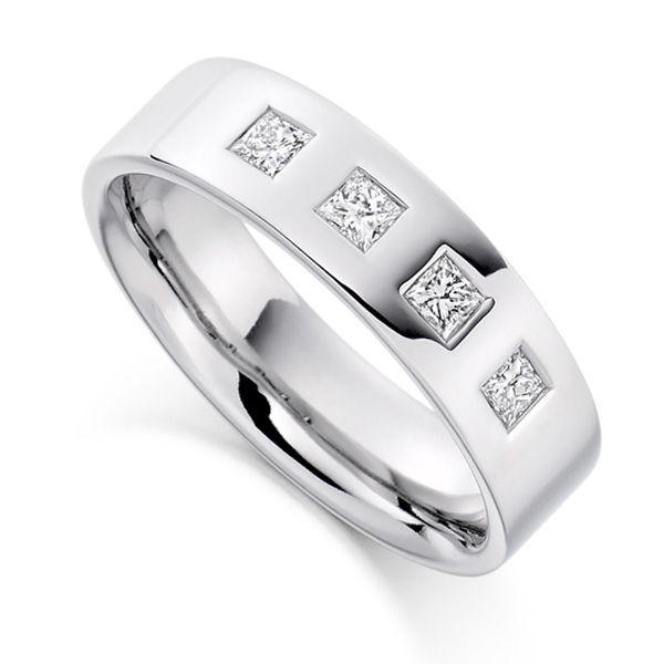 0.36cts Men's 4 Princess Diamond Wedding Ring Main Image