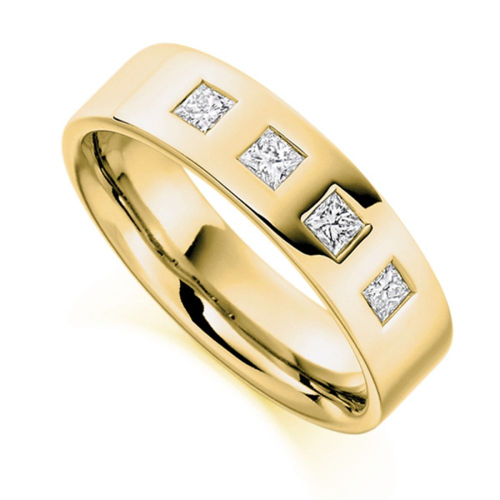 0.36cts Men's 4 Princess Diamond Wedding Ring In Yellow Gold
