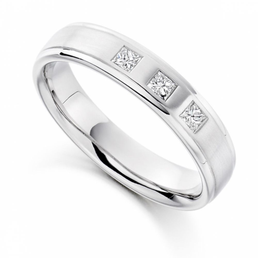 0.22cts Men's 3 Stone Princess Diamond Wedding Ring