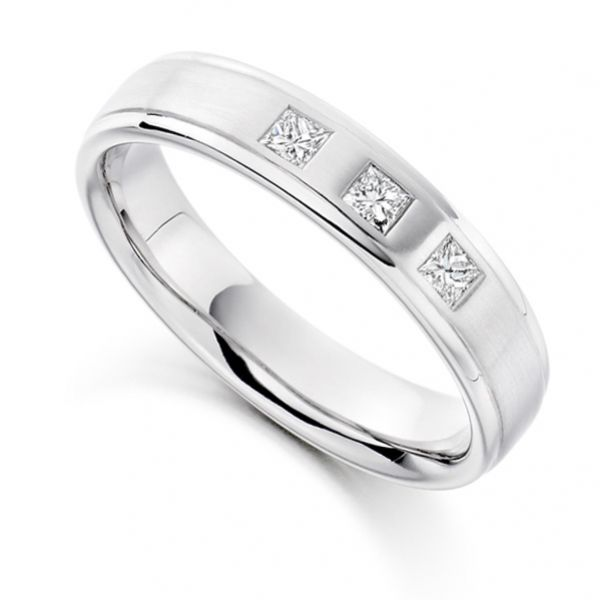 0.22cts Men's 3 Stone Princess Diamond Wedding Ring Main Image