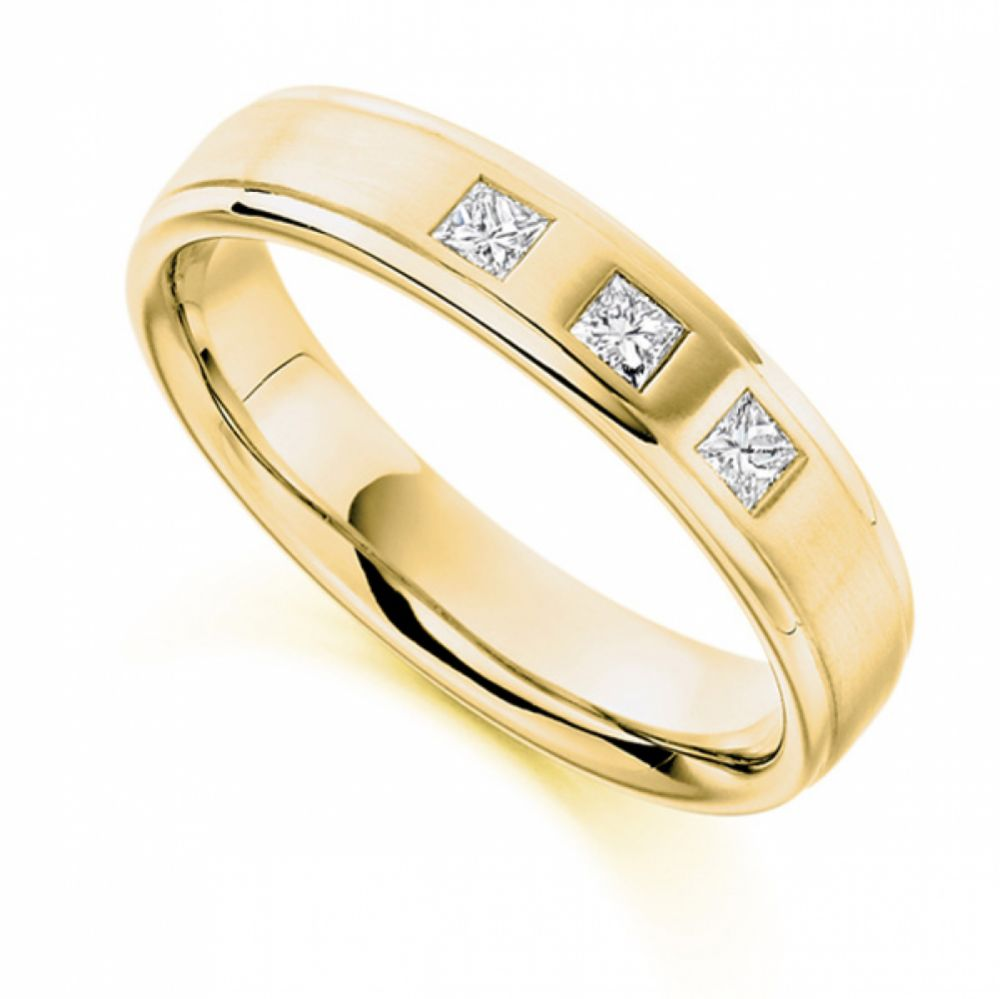 0.22cts Men's 3 Stone Princess Diamond Wedding Ring In Yellow Gold