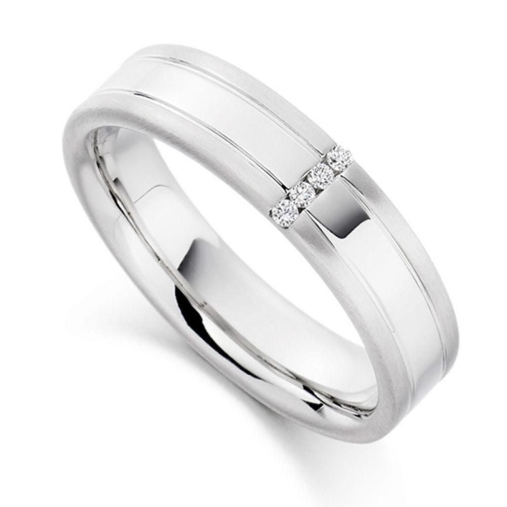0.04cts Men's Patterned & Diamond Set Wedding Ring