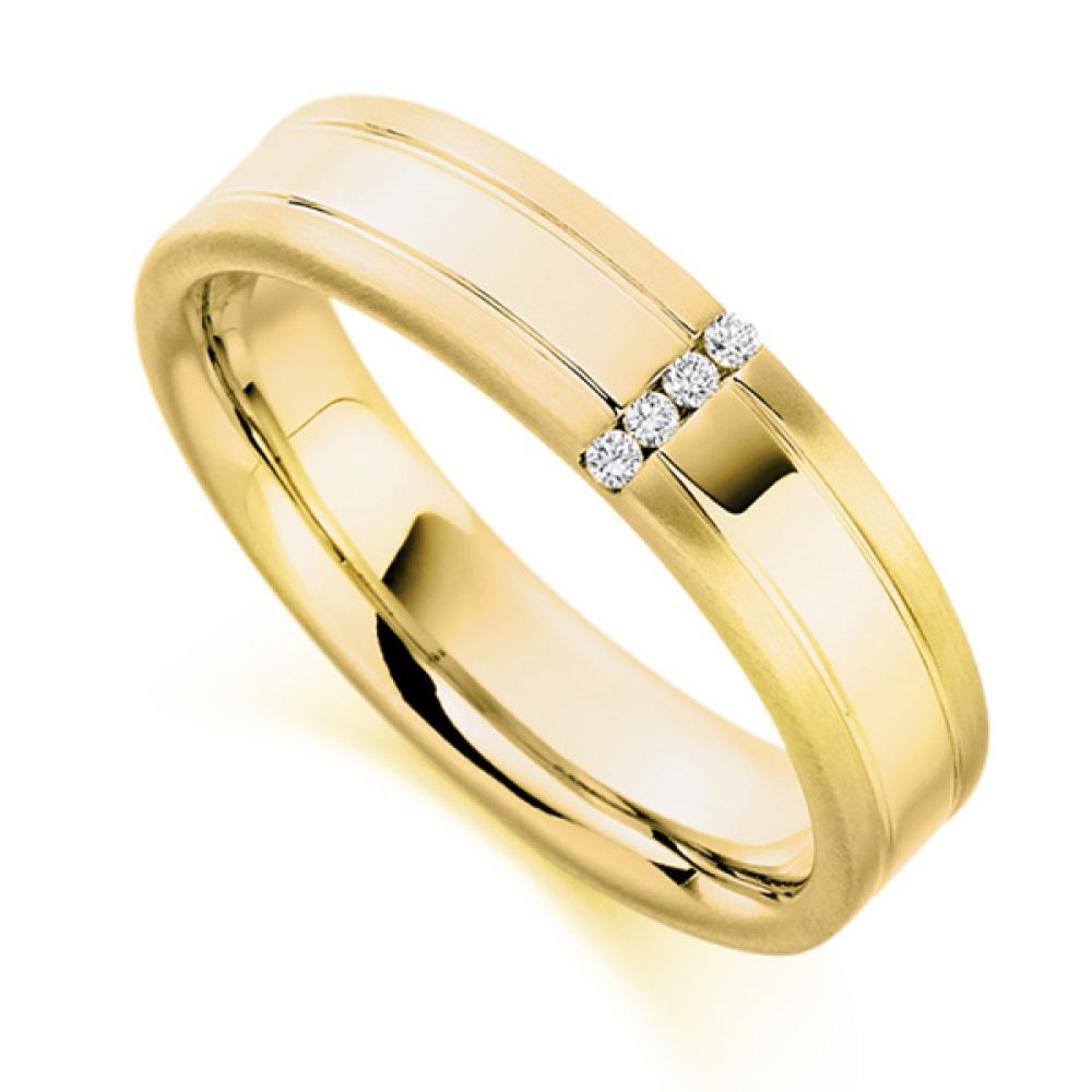 0.04cts Men's Patterned & Diamond Set Wedding Ring In Yellow Gold