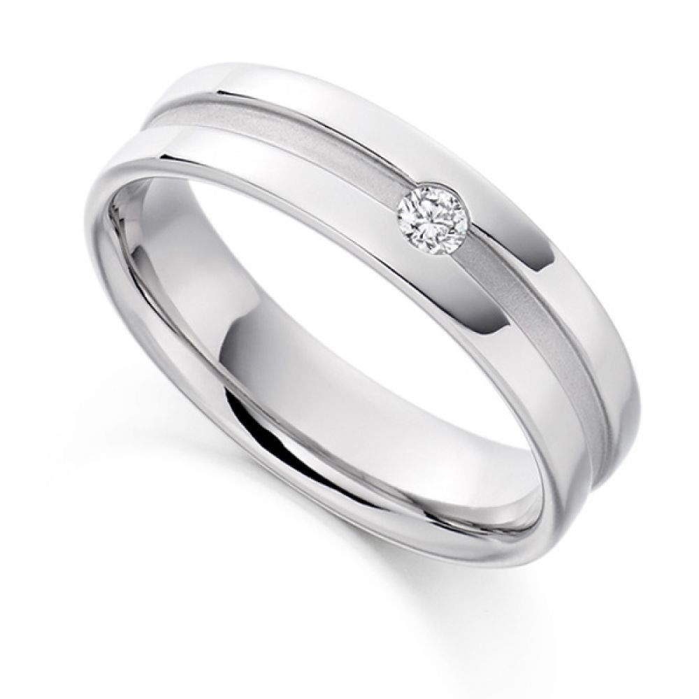 0.07cts Men's Flush Set Wedding Ring with Channel