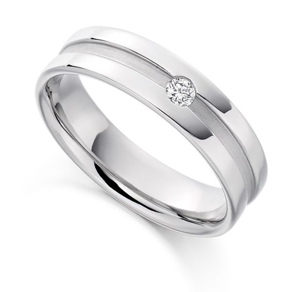 0.07cts Men's Flush Set Wedding Ring with Channel Main Image