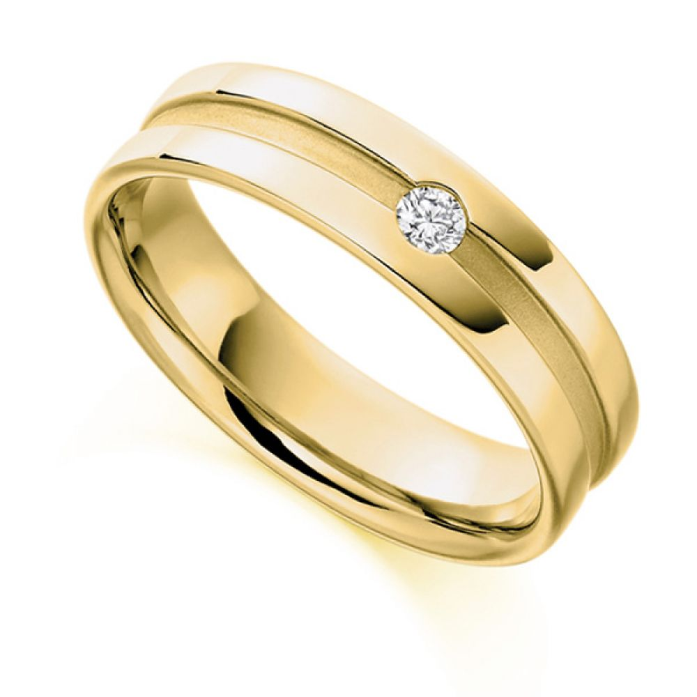 0.07cts Men's Flush Set Wedding Ring with Channel In Yellow