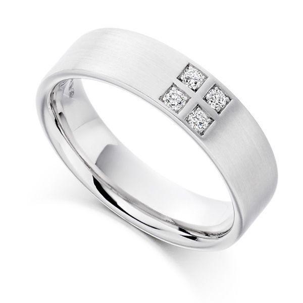 0.12cts Men's 4 Stone Diamond Set Wedding Ring Main Image