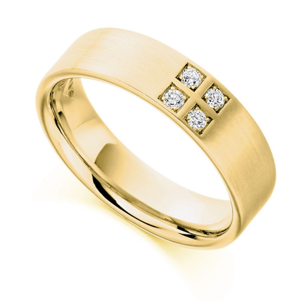 0.12cts Men's 4 Stone Diamond Set Wedding Ring In Yellow Gold
